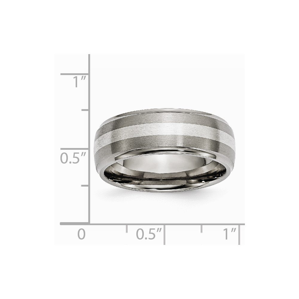 Titanium Silver Two-Tone Wedding Band Ring Ridged Polished Brushed Sterling Silver 8 mm 8 mm Ridged Edge Inlay 8mm Brushed//Band