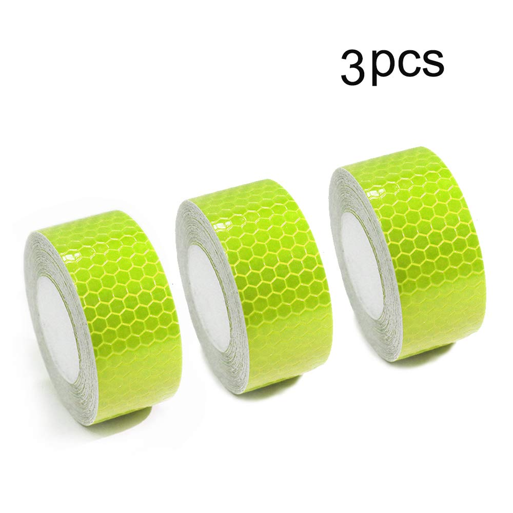 1″X8.2′ Fluorescent Green Reflective Tape For Trucks Trailers Car Park Traffic Warning Caution Conspicuity Tape Waterproof Self-Adhesive Reflector Tape-Reflective Tape 3 Pcs