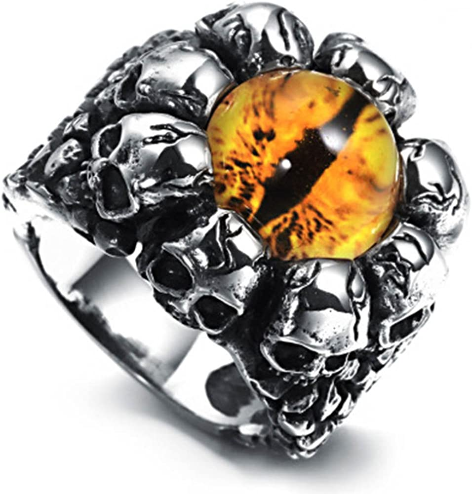 Jajafook Men S Stainless Steel Vintage Skull Heads Punk Ring With