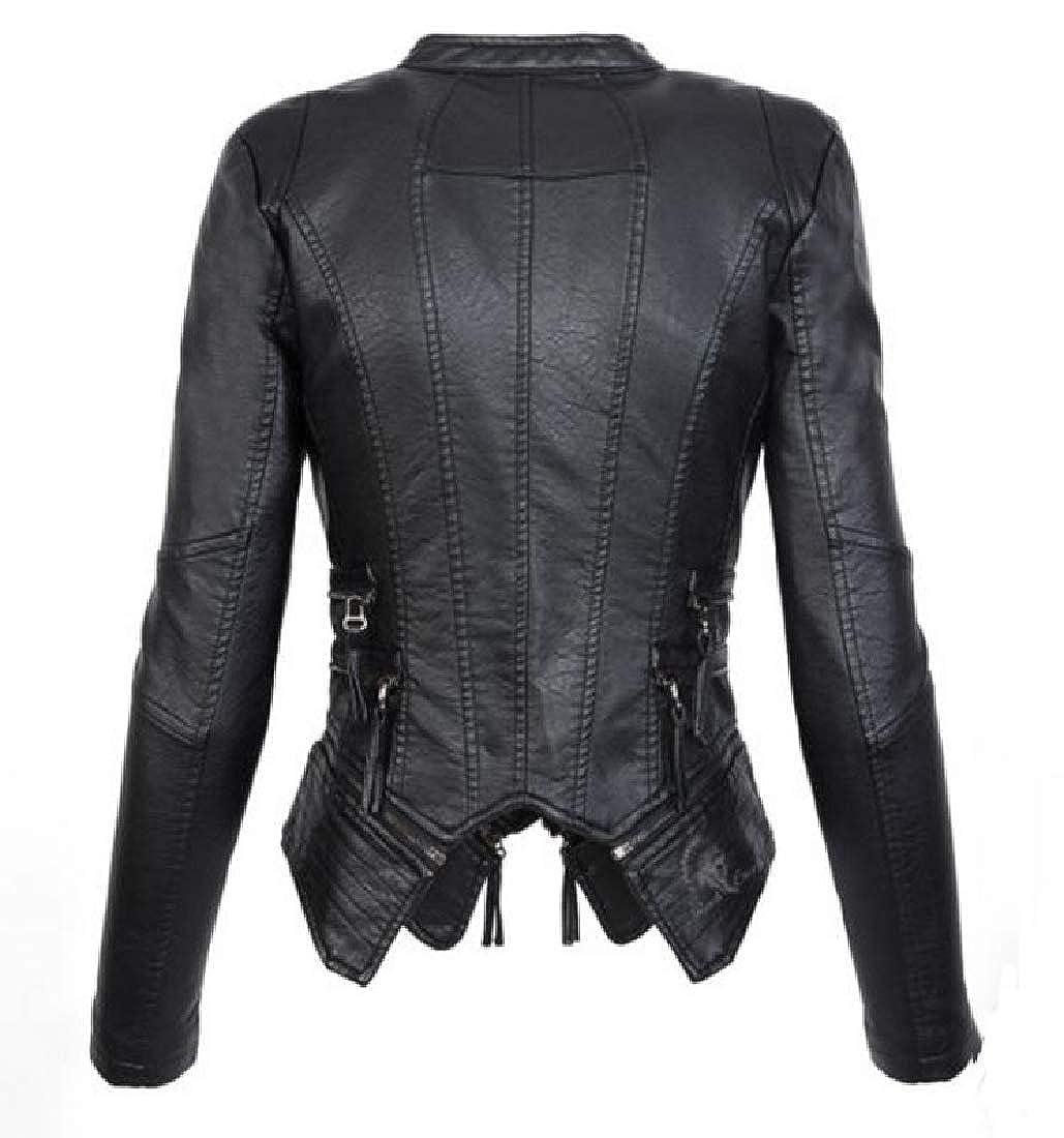 YUNY Women Thickening Slim Casual Moto Biker Jacket with Pockets Black S