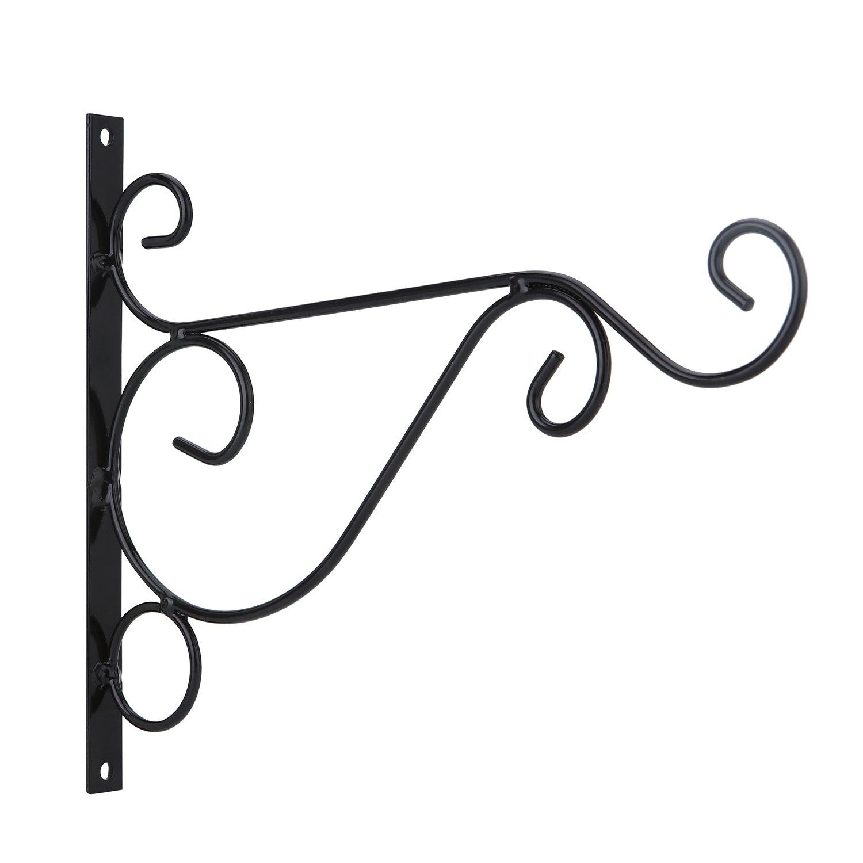 Venfon 3-Pack 10'' Flower Plant Pot Hooks Hangers Outdoor Lawn Iron Bracket For Planter Bird Feeder Lantern Windbell Wind Chimes With Screws (black) by HHXRISE (Image #3)