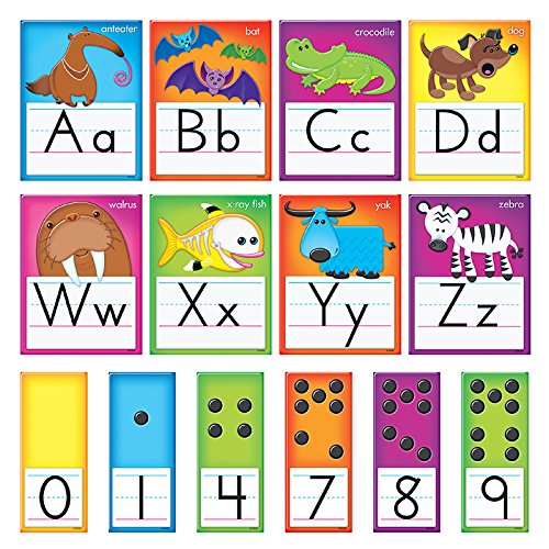 TREND enterprises, Inc. T-8265 Awesome Animals Alphabet Cards Standard Manuscript Bulletin Board - Whimsical Wall Letters