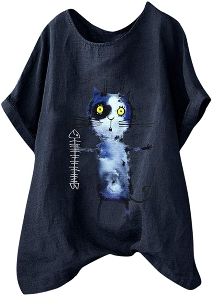 MOTOCO Camiseta de Mujer Top Letra Estampado de Animales Camisa de ...