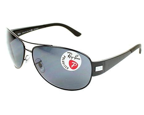 75eac79838 Ray Ban Rb3467 Matte Black Frame Grey Polarized Lens Metal Plastic  Sunglasses  Amazon.co.uk  Clothing