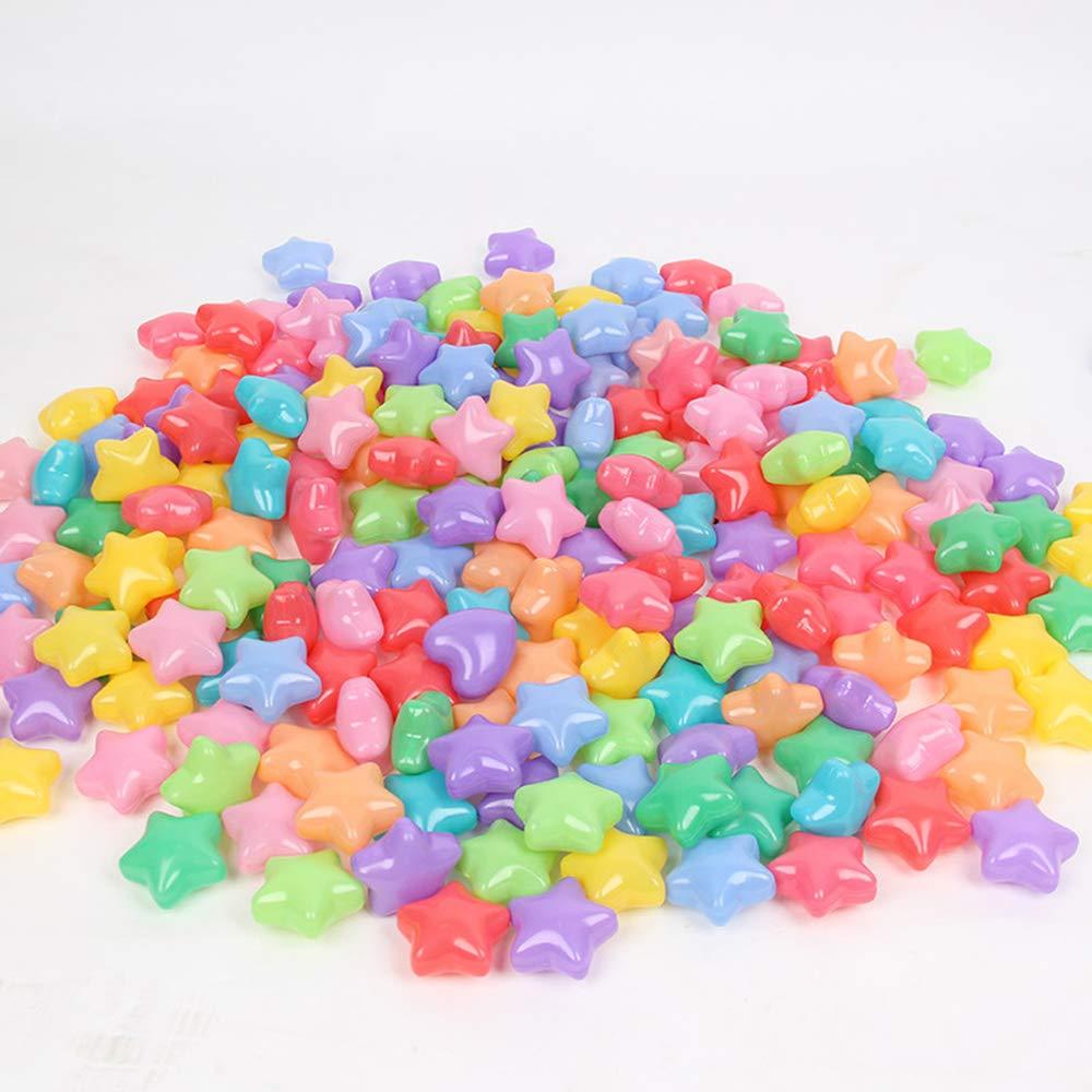 Ocean Ball Toys 100pcs Ball Pit Diameter 2.3'' Star Heart Shape Colorful Soft Plastic Ocean Balls Baby Kid Toys Swim Pit Toys Ball (Star)