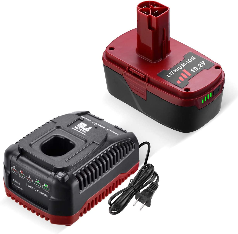 Dutyone 5.0Ah Replacement Battery for Craftsman 19.2 Volt DieHard C3 Battery XCP 130279005 130211004 315.115410 315.11485 Cordless Lithium Battery with 19.2Volt Lithium & NI-CD Replacement Charger