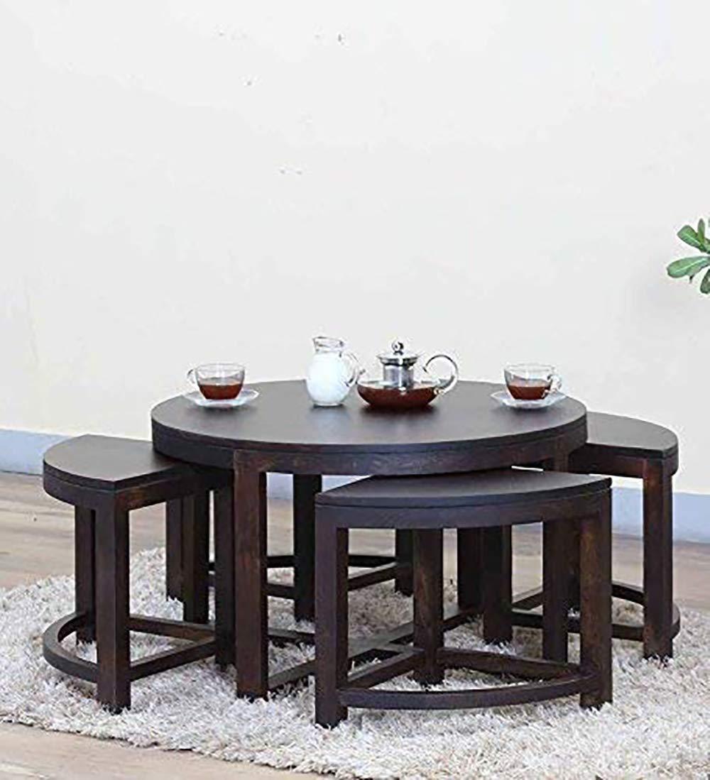 - MODWAY Sheesham Wood Round Coffee Table With Stools (Walnut Finish