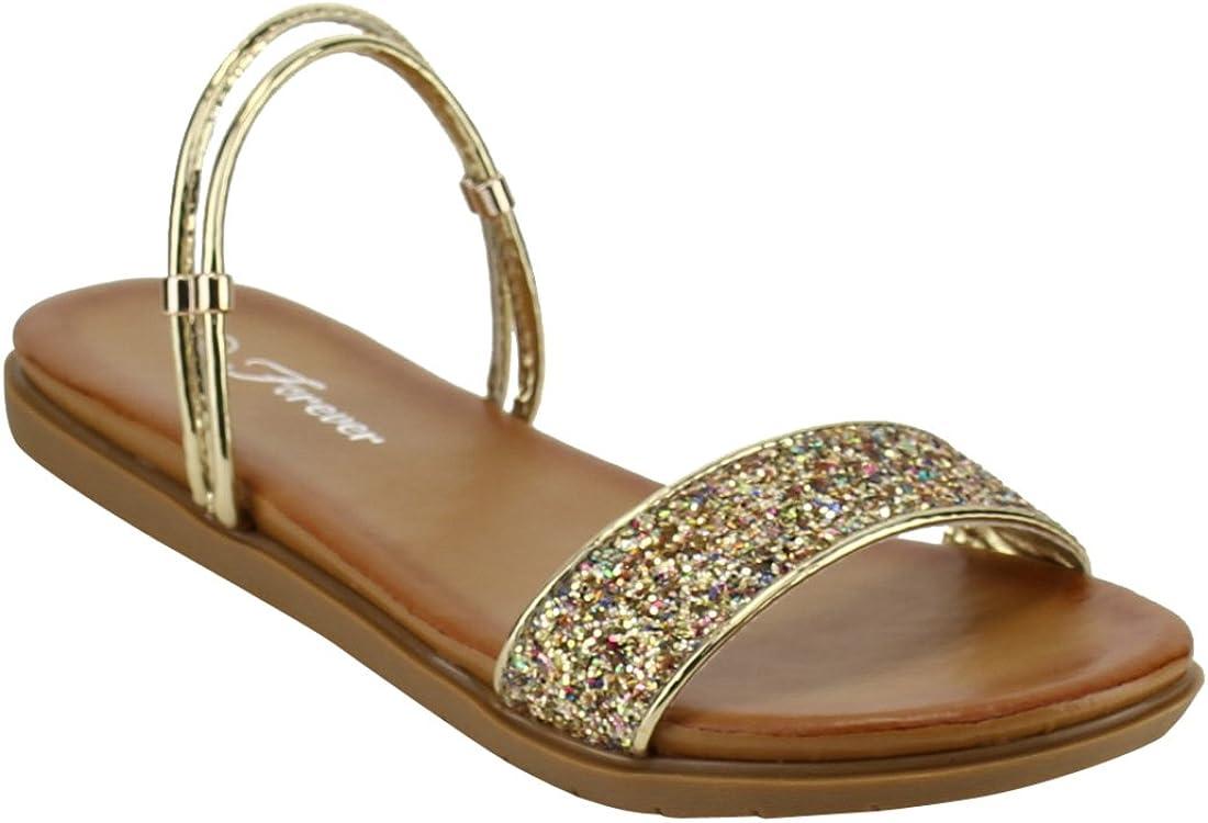 Glitter Straps Flat Heel Sandals, Color