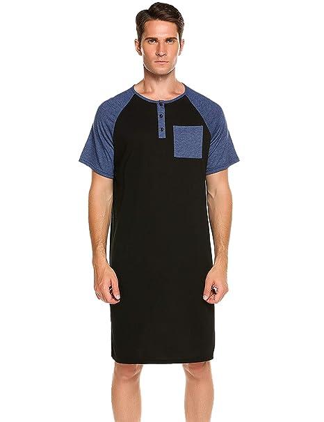 c6a1a37b56 Skylin Mens Pjs Cotton Nightshirt Big   Tall Stripe Henley Sleep Shirt  Sleepwear (Black