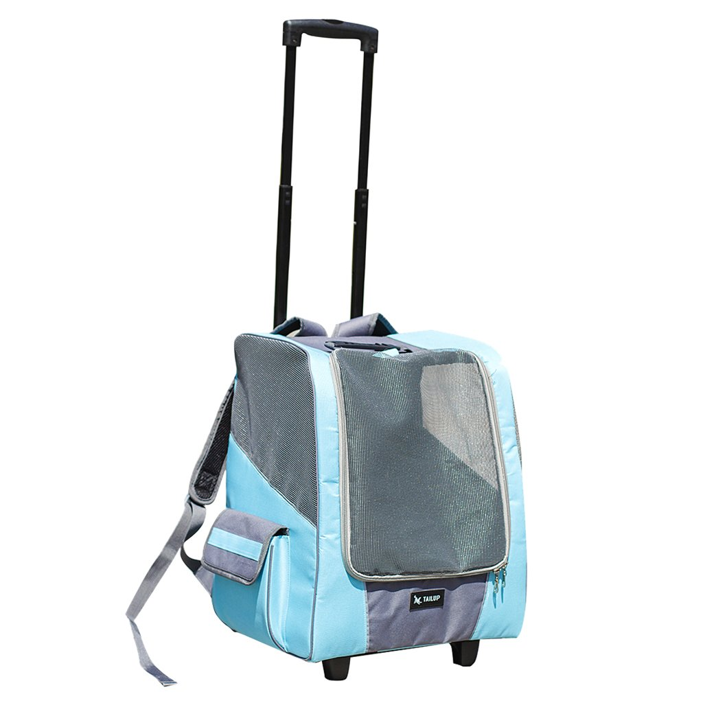 MonkeyJack 2-in-1 Pet Stroller Dog Puppy Cat Animals Trolley Carrier Travel Backpack Airline Cage - Blue