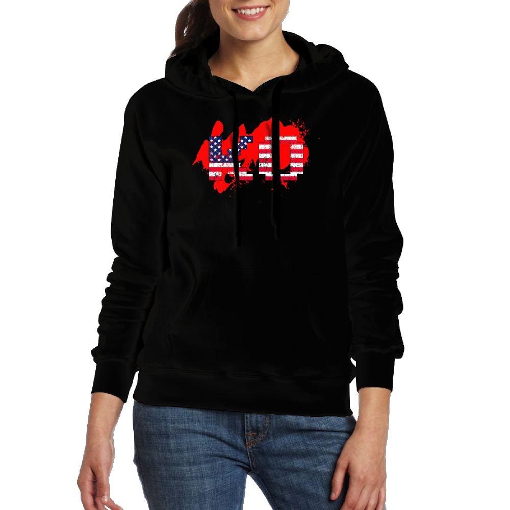 LOID KLAF KO Wrestling America Flag Casual Women Hoodies Long Sleeve Drawstring Sweatshirt L