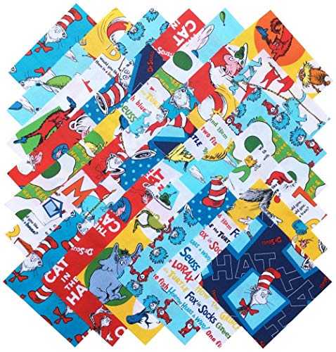 Robert Kaufman ORIGINAL DR. SEUSS FAVORITES Precut 5-inch Cotton Fabric Quilting Squares Charm Pack Assortment Dr Seuss
