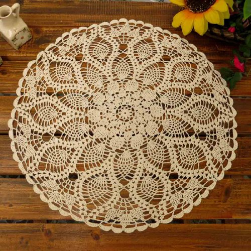 Oval Tablecloth Crochet Pattern (kilofly Handmade Crochet Cotton Lace Table Sofa Doily, Waterlily, Beige, 20 inch)