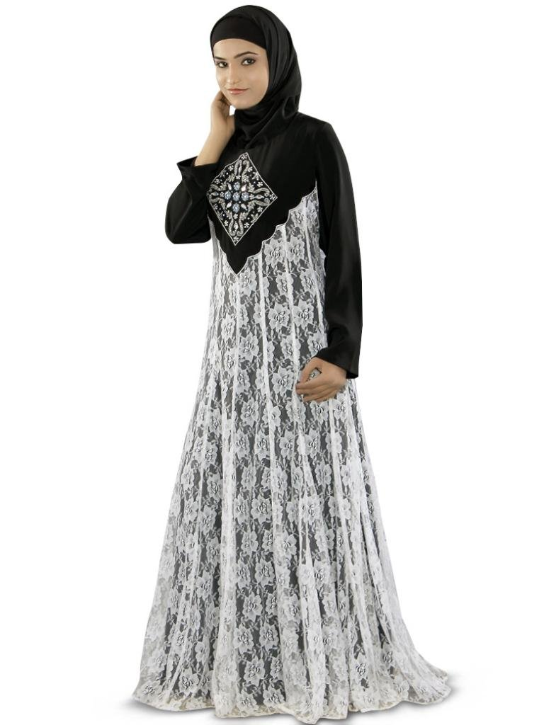MyBatua Women's Shaista Abaya in Anarkali Style Best for any Party 3XL Black & White