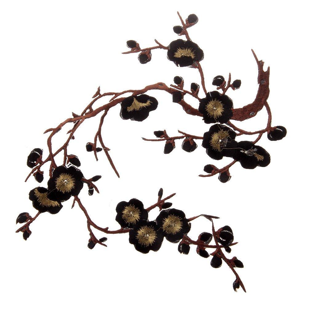 1pcs Apliques De Encaje Ciruelo Del Bordado Flor / Parche Motivos DIY Decoraciones - Oro negro, 37cm * 14cm: Amazon.es: Juguetes y juegos