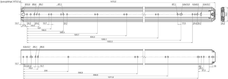 Schubladenauszug belastbar bis 250 Kg Junker 1 Paar Schwerlastausz/üge KV1-250-H76-L1422-NF 1422 mm 56