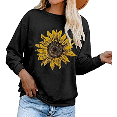 Aurgelmir Women's Cute Graphic Sweatshirts Sunflower Print Long Sleeve Crewneck Casual Pullover Tops at Amazon Women's Clothing store