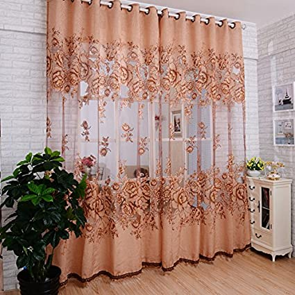 Zibuyu Peony Pattern Voile Curtain (Coffee)