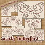 Swirly Butterflies Redwork Embroidery Machine Designs on CD - 10 Fanciful Patterns - 2 Sizes Each - PES JEF EXP XXX VIP HUS DST