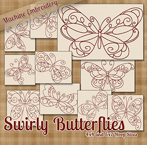 (Swirly Butterflies Redwork Embroidery Machine Designs on CD - 10 Fanciful Patterns - 2 Sizes Each - PES JEF EXP XXX VIP HUS DST)