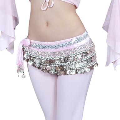 BellyLady - Bufanda para danza del vientre con monedas plateadas ...