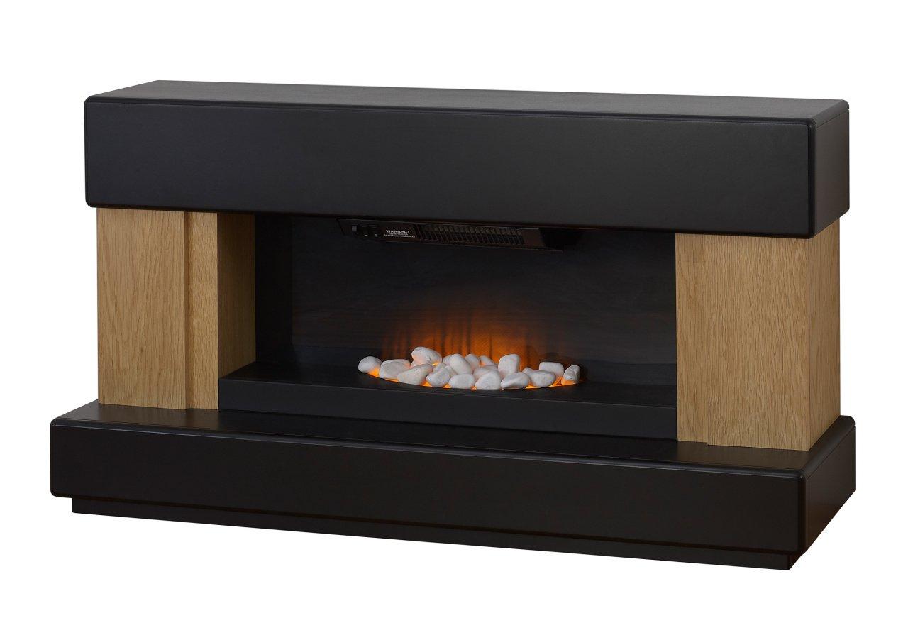 adam verona electric fireplace suite oak and black adam amazon