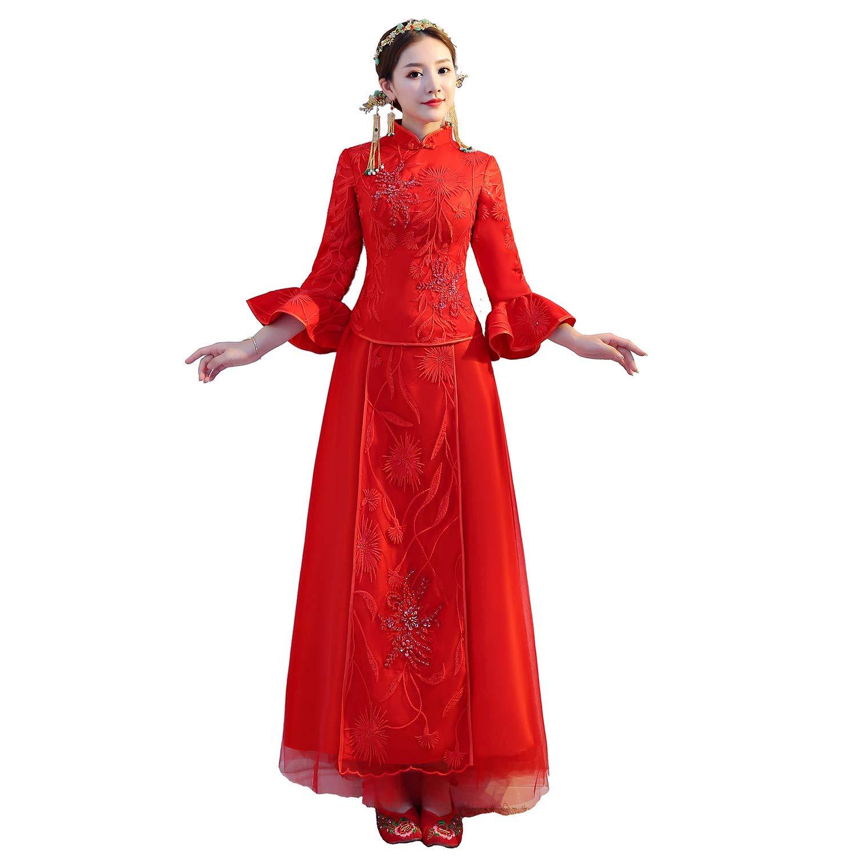 Shanghai Story Chinese Cheongsam Wedding Dress Bridal Dress Qipao Xiuhe Dress Styel B 2XL