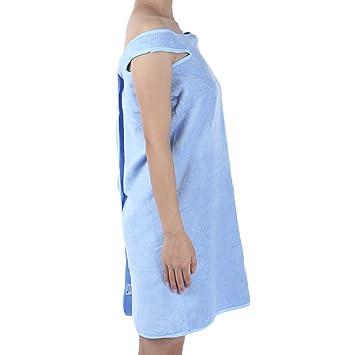 Shuzhen,Vestido de Playa de Lavado de Toalla de Albornoz usable(Color:Azul): Amazon.es: Hogar