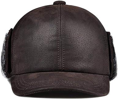 Sombrero de Cuero para Hombre Gorro de algodón cálido Invierno ...