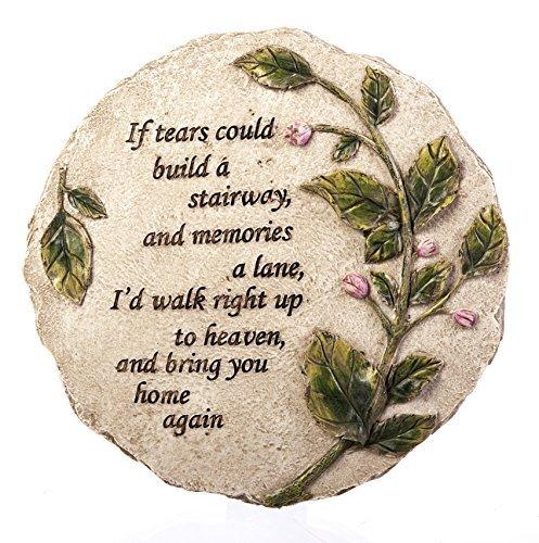 "New Creative Evergreen Garden Tears to Heaven Polystone Memorial Stepping Stone - 11""W x 0.5""D x 11""H"