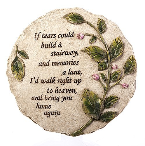 "New Creative Evergreen Garden Tears to Heaven Polystone Memorial Stepping Stone - 11""W x 0.5""D x 11""H"