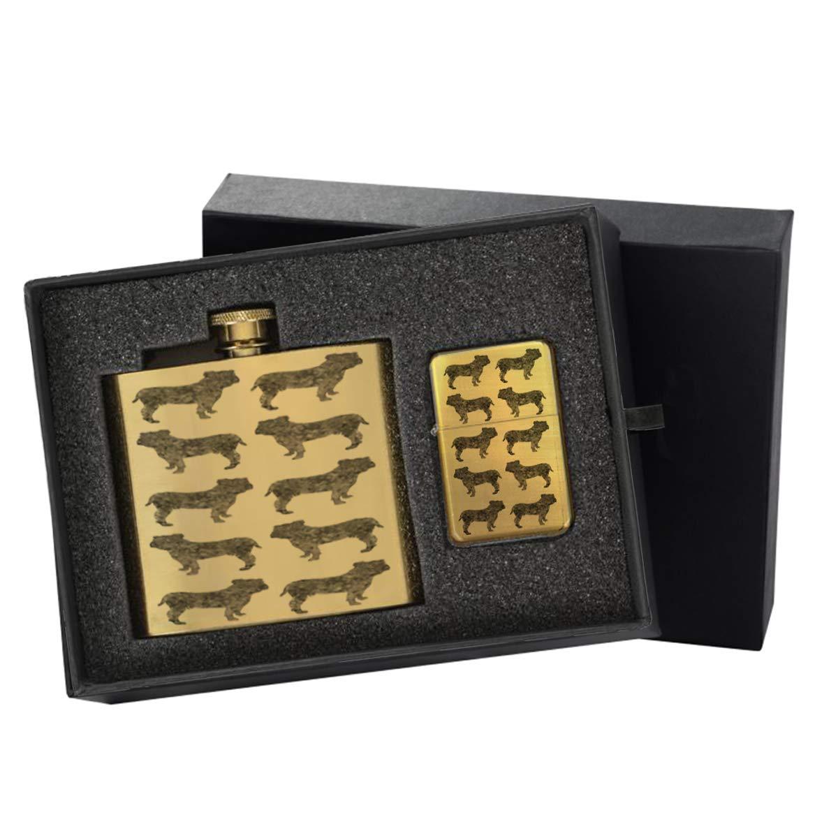 English Bulldog Pattern - Gold Lighter and Pocket Hip Liquor Flask Survival Camping Gift Box Set