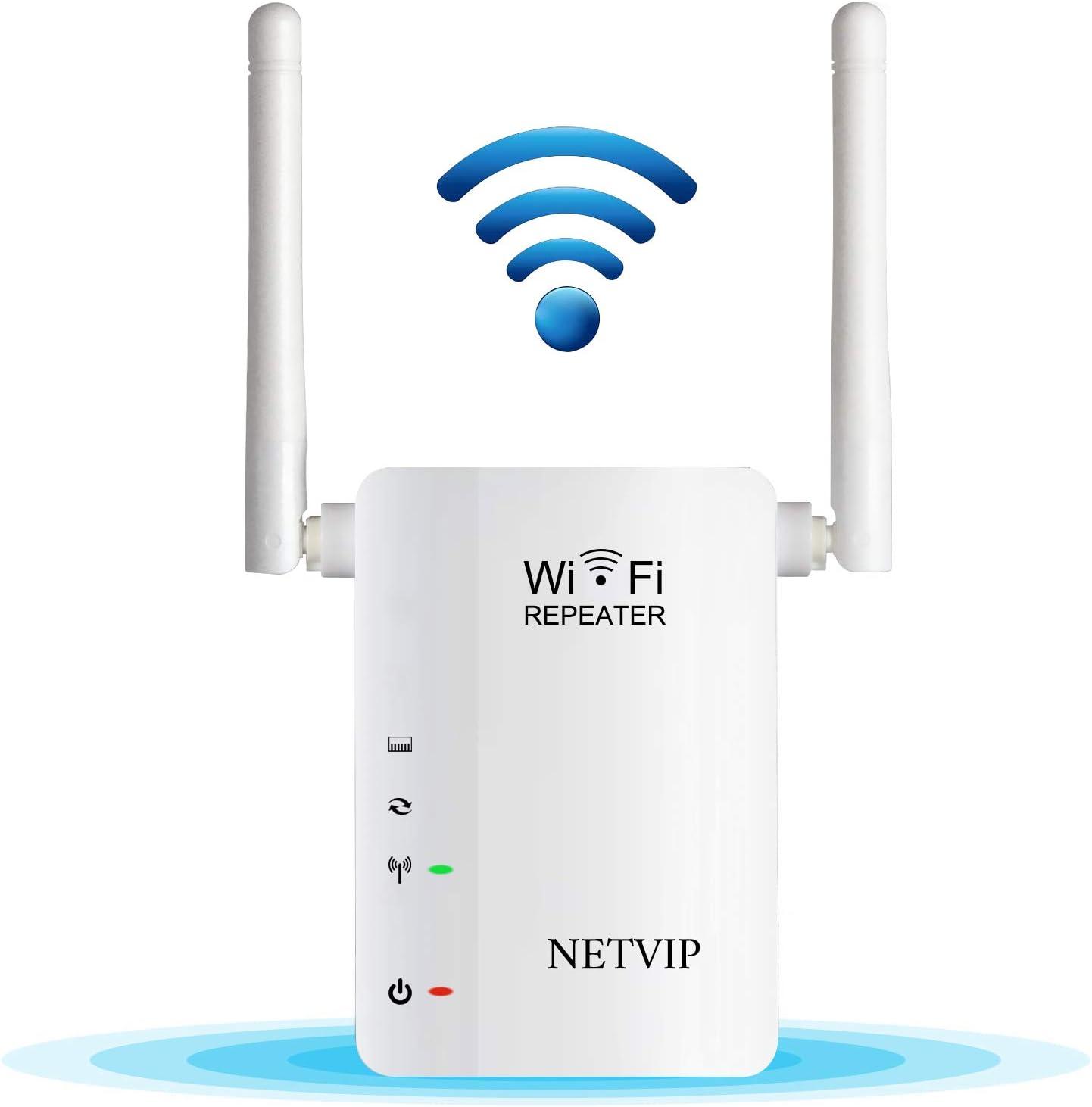NETVIP WiFi Repetidor de Red WiFi Amplificador 300Mbps Booster Mini Extensor de Rango Inalámbrico Modo Punto de Acceso/Repetidor(Dos Antenas, Fácil de Usar) Compatible con Enrutador Inalámbrico
