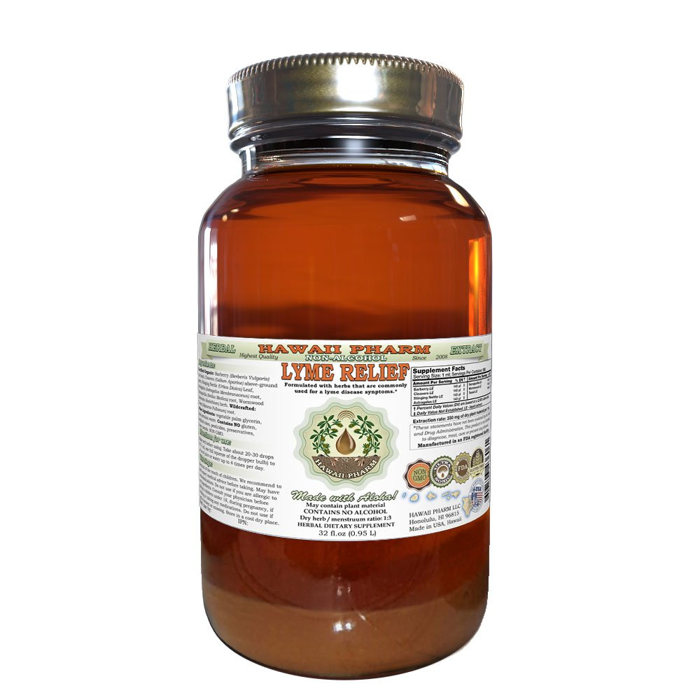 Lyme Relief Glycerite, Natural Herbal ALCOHOL-FREE Liquid Extract, Made in USA, Hawaii Pharm trusted brand, Herbal Supplement 32 oz