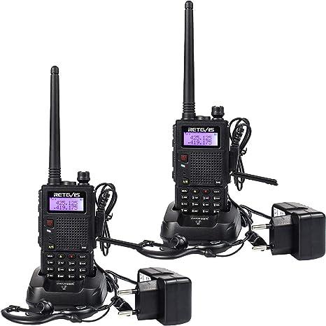 Image of Retevis RT5 Walkie Talkie Recargable Largo Alcance Banda Dual 128 Canales Función VOX Radio FM LED Linterna Walkie Talkie con Auriculares (2 Pacs, Negro)