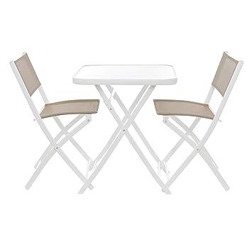 Juego Mesa con 2 sillas plegables: Amazon.es: Hogar