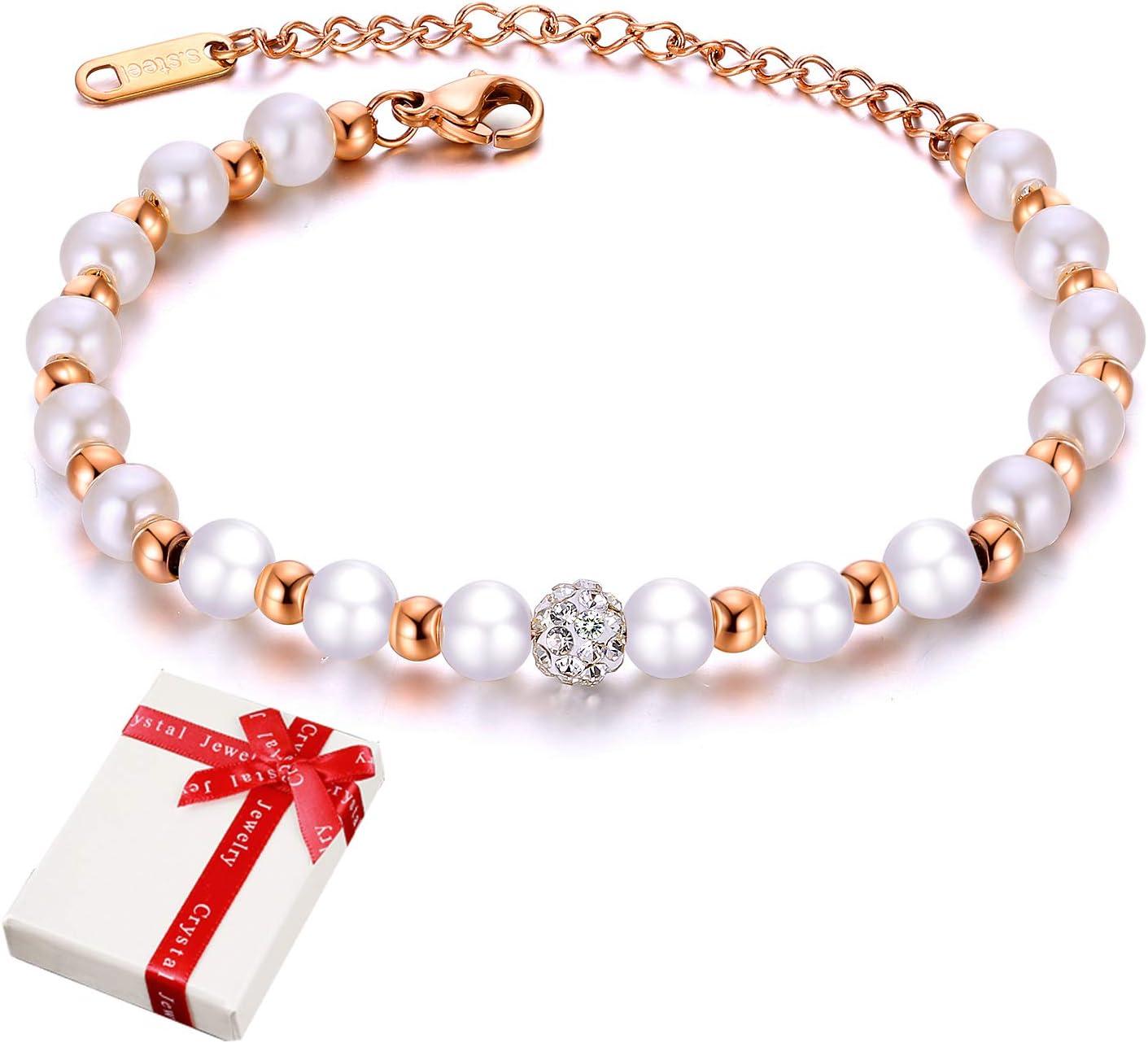 Pulsera de mujer Perlas blancas con joyas de piedras preciosas de cristal para mujer Niña, dijes Pulseras de circonita cúbica acero inoxidable de oro rosa Regalo para Navidad Día Cumpleaños Boda 21cm