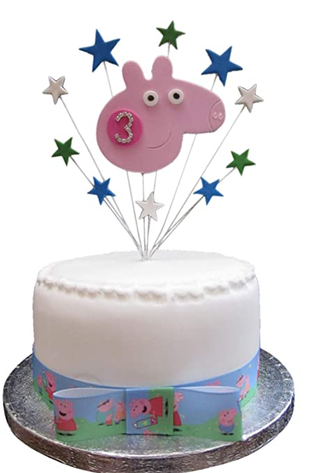 3rd Birthday Cake Topper George Pig With Diamante Age Suitable For A Small PLUS 1