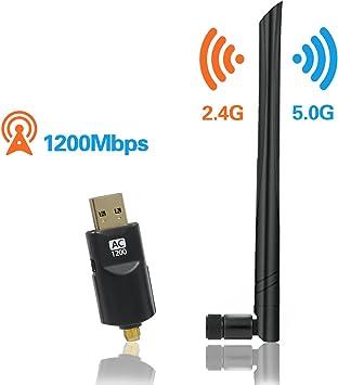 OVERBOX Adaptador WiFi Antena USB 3.0 Dongle WiFi, 1200Mbps Mini Recptor 5dBi Doble Banda 2.4GHz/5GHz 802.11ac para PC, Tableta, Escritorio, Ordenador ...