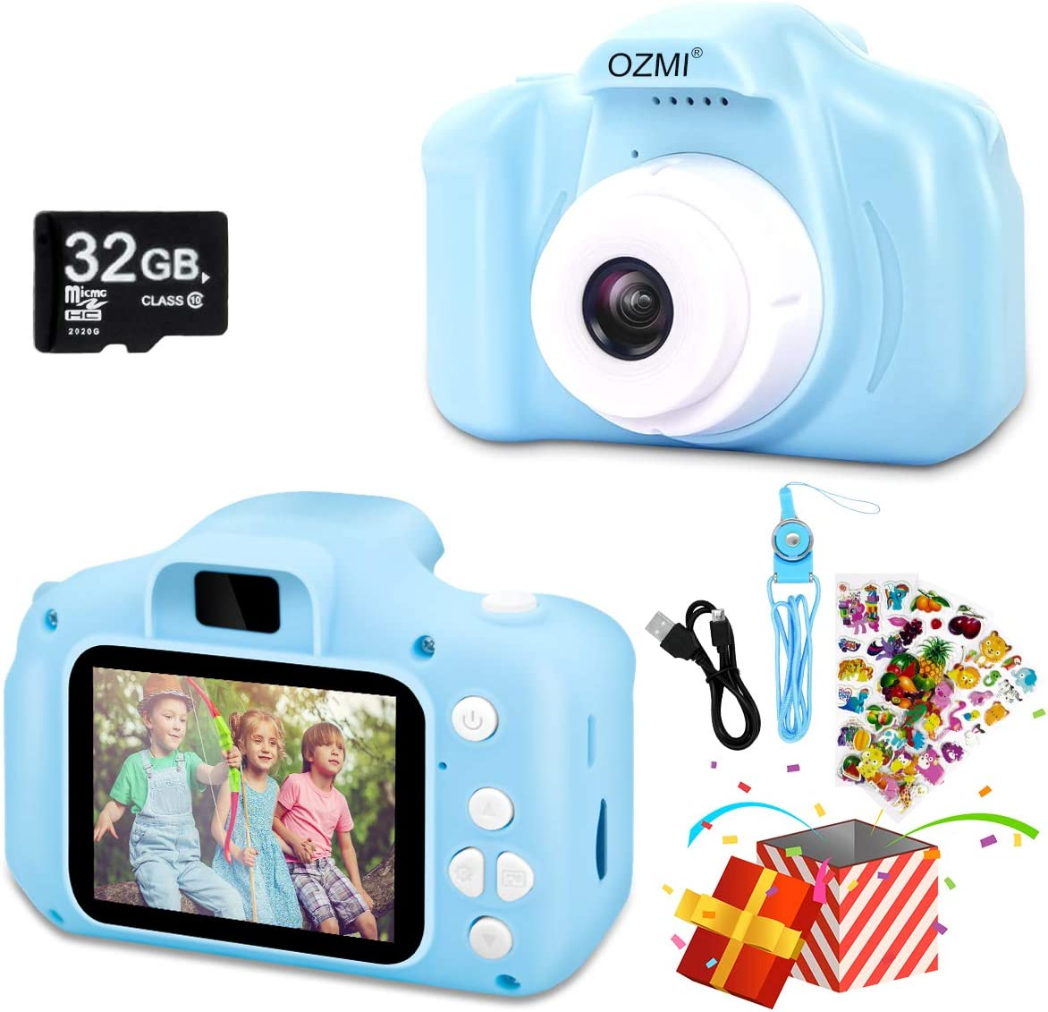 OZMI Upgrade Kids Selfie Camera, Christmas Birthday Gifts for Boys Age 3-12, Children Digital Cameras 1080P 2 Inch Toddler, Portable Toy for 3 4 5 6 7 8 9 10 Year Old Boy with 32GB SD Card (Blue)