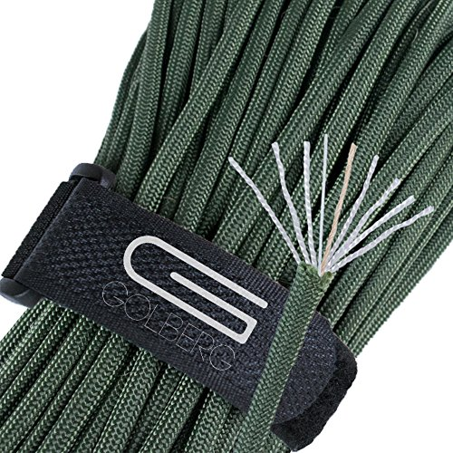 Golberg Outlast Cord - Military Paracord 550 lb Tensile Strength with Fishing Line and Jute Tinder - 7 Inner Strand Type III Parachute Rope - Made in The USA - (Olive Drab, 100 Feet)