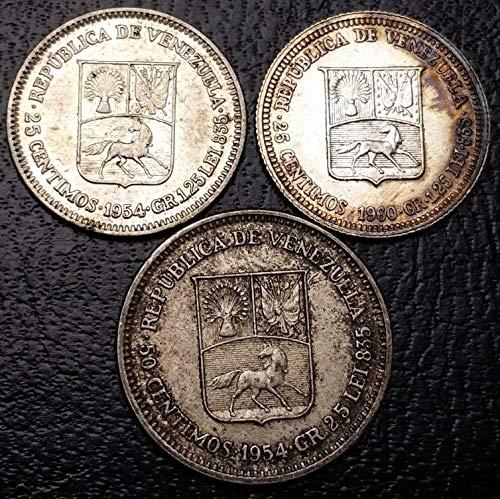 - Lot of 3 Venezuela Silver Coins - Dates 1954 1960 - 25 50 Centimos