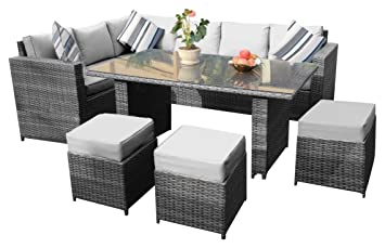 YAKOE Papaver Range Conservatory Rattan Garden Furniture Corner Dining Set  With Rain Cover, 9 Seater