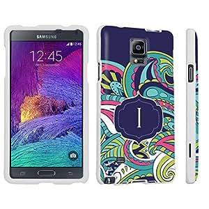 DuroCase ? Samsung Galaxy Note 4 Hard Case White - (Mint Flower Monogram I)