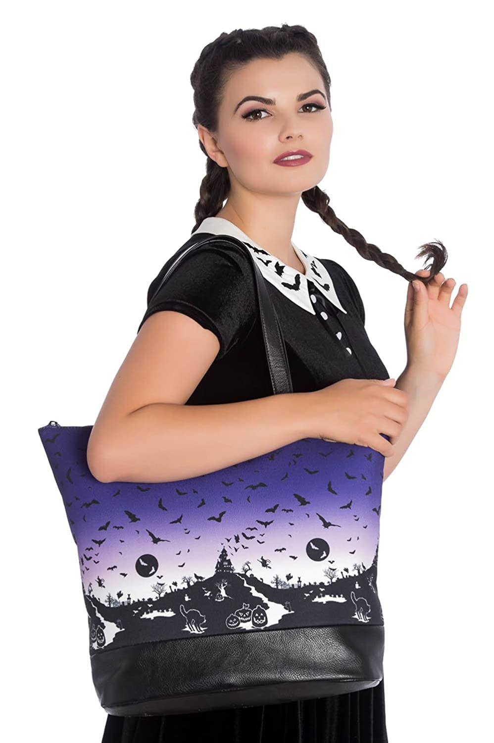 Shopper HAUNT TOTE BAG 7109 purple Violett one size Hell Bunny I2GlCXR