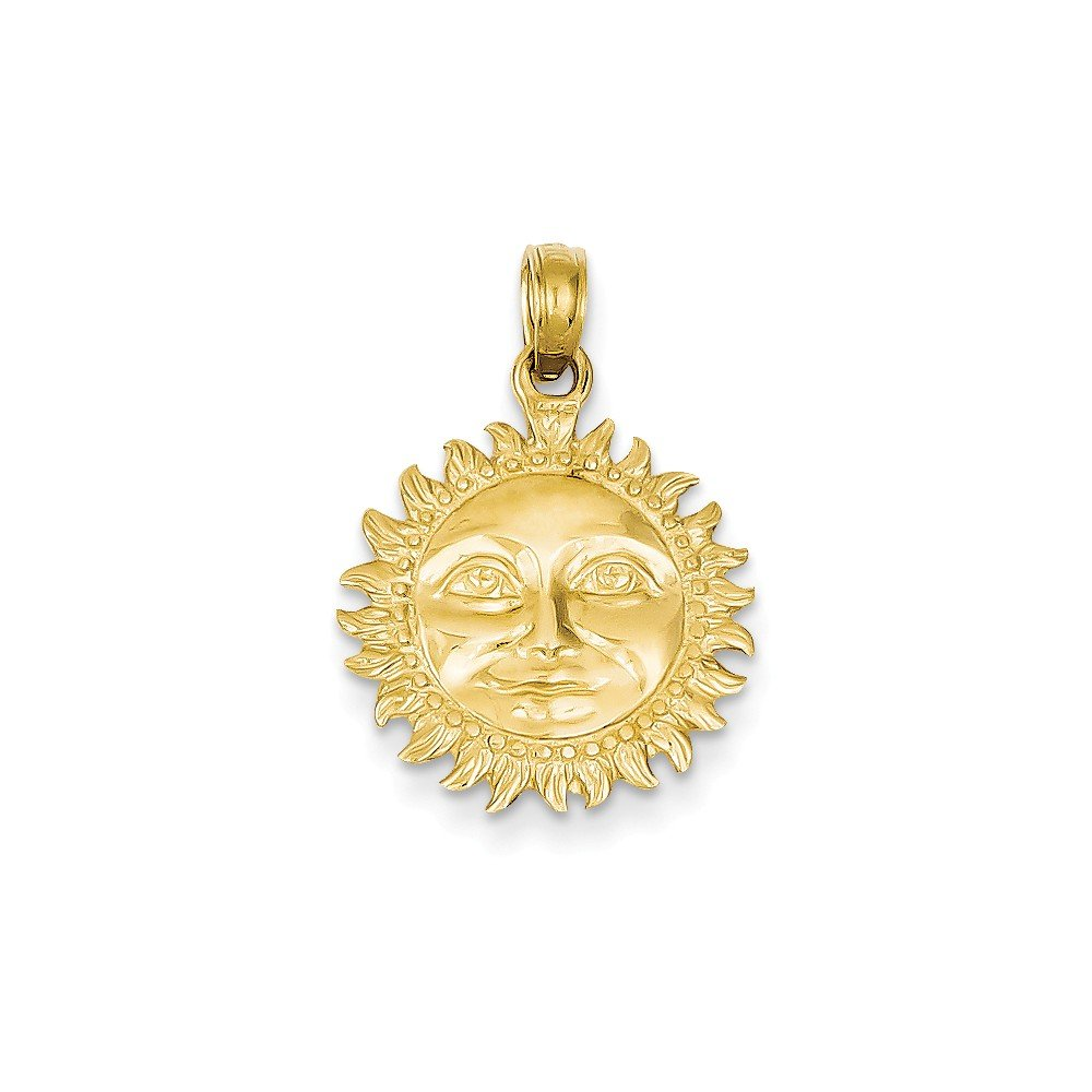 14k Yellow Gold 3-Dimensional Sun Pendant