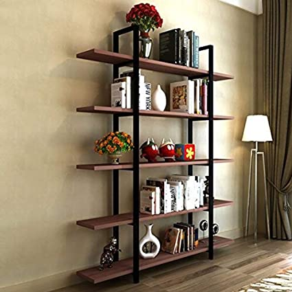 Tribesigns 5 Tier Bookshelf Vintage Industrial Style Bookcase 72 H X 12