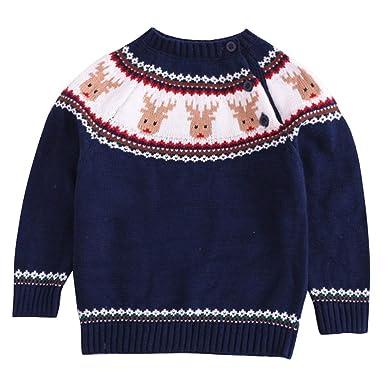 bbfea331d Amazon.com  Happy Cherry Kids Knit Sweater Crewneck Christmas ...