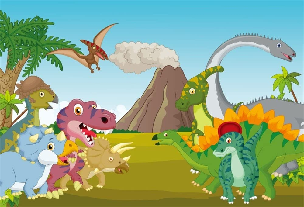 7x7ft Cartoon Different Dinosaurs Illustration Polyester Photography Background Jurassic Period Backdrop Baby Boy Birthday Banner Kids Room Wallpaper Dino Party Studio Props
