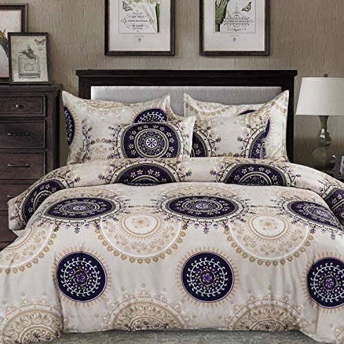 MIMONG Duvet Cover Set with Zipper Closure,Beige&Black Paisley Ethnic Pattern Floral Print Design,Soft Microfiber Bedding,Queen/Full Size(90